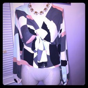 Mod color-block flowy blouse top